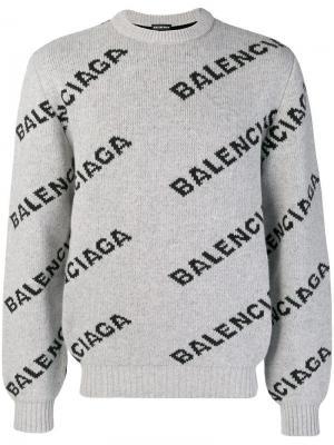 Свитер с логотипами Balenciaga. Цвет: серый