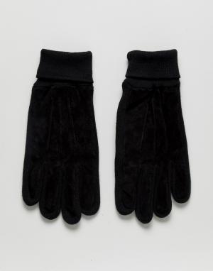 Замшевые перчатки Boardmans. Цвет: черный