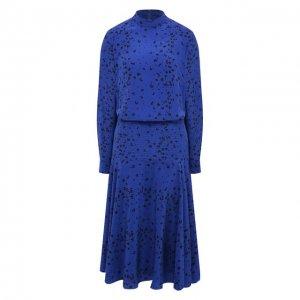 Шелковое платье Kenzo. Цвет: синий