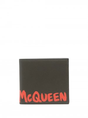 Logo-print leather wallet Alexander McQueen. Цвет: зеленый