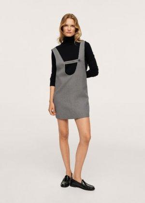 Короткое платье в клетку - Grunge Mango. Цвет: черный
