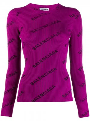Джемпер с логотипом Balenciaga. Цвет: фиолетовый