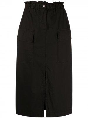 Юбка миди с карманами карго 8pm. Цвет: черный