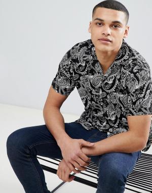 Рубашка с короткими рукавами и принтом пейсли Premium Jack & Jones. Цвет: черный