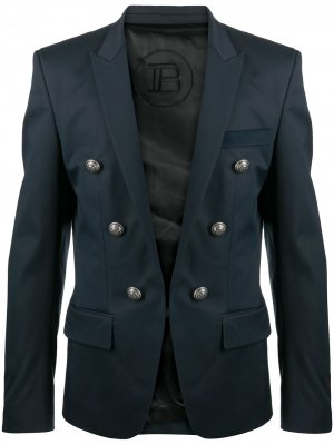 Пиджак с декоративными пуговицами Balmain. Цвет: синий