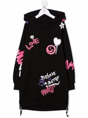 Платье с капюшоном и графичным принтом Pinko Kids. Цвет: черный