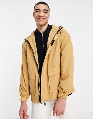 Бежевая водонепроницаемая куртка-дождевик -Серый ASOS DESIGN