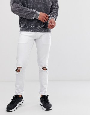 Белые супероблегающие джинсы с состаренным эффектом -Белый Lindbergh