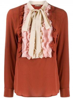 Блузка с оборками Altea. Цвет: коричневый