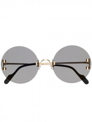 Солнцезащитные очки в массивной круглой оправе Cartier Eyewear. Цвет: черный