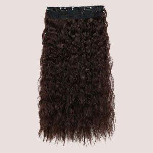 Длинный кудрявый шиньон с зажимом 5шт SHEIN. Цвет: коричневые