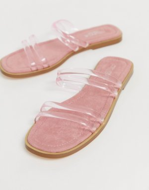 Сандалии-слипоны с прозрачными ремешками -Розовый Truffle Collection