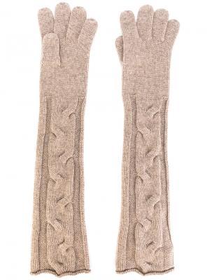 Длинные трикотажные перчатки Loro Piana. Цвет: коричневый