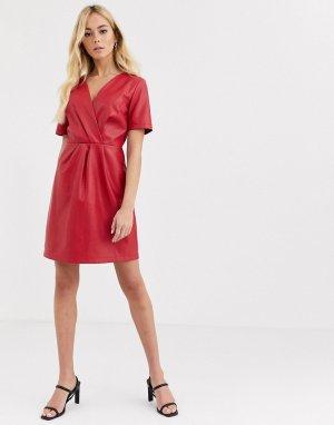 Красное платье миди с запахом спереди -Красный Morgan