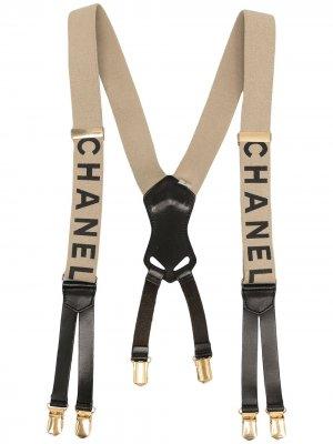 Подтяжки 1994-го года с логотипом Chanel Pre-Owned. Цвет: белый