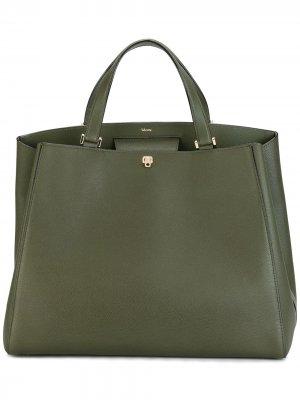 Большая сумка-тоут Valextra. Цвет: зеленый