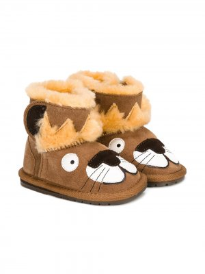 Ботинки с отделкой Emu Kids. Цвет: коричневый