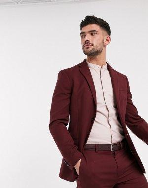 Бордовый однобортный пиджак зауженного кроя -Красный Topman