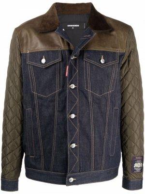 Джинсовая куртка со вставками Dsquared2. Цвет: синий