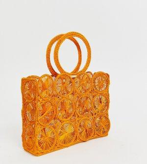 Оранжевый клатч с круглой ручкой из рафии KAANAS