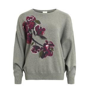 Пуловер с круглым вырезом из тонкого трикотажа VILA. Цвет: светло-серый меланж