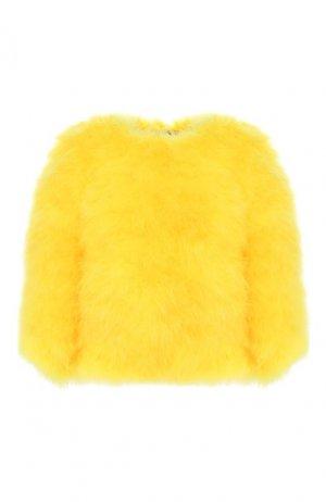 Накидка с перьями Ralph Lauren. Цвет: жёлтый