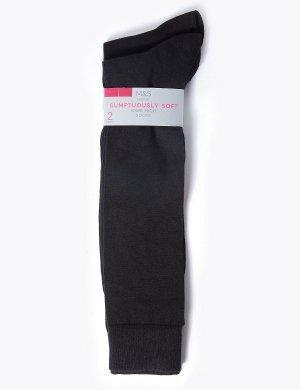 Гольфы черные, 2 пары M&S Collection. Цвет: черный