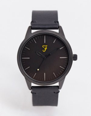 Часы с классическим кожаным ремешком -Черный Farah