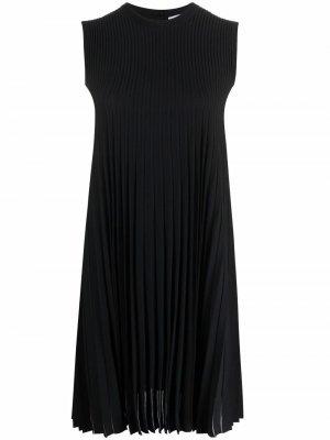 Плиссированное платье-трапеция Salvatore Ferragamo. Цвет: черный