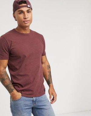 Бордовая футболка с круглым вырезом -Красный Abercrombie & Fitch