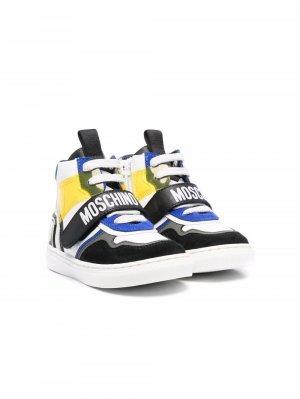 Кроссовки в стиле колор-блок Moschino Kids. Цвет: белый