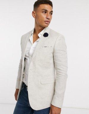 Кремовый льняной пиджак -Белый Celio