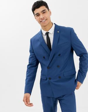 Синий двубортный пиджак зауженного кроя Farah Henderson-Голубой Smart