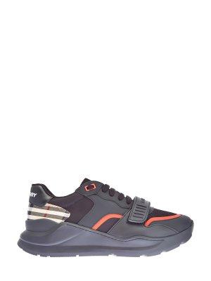 Массивные кроссовки Ramsey из кожи и мембраны BURBERRY. Цвет: черный