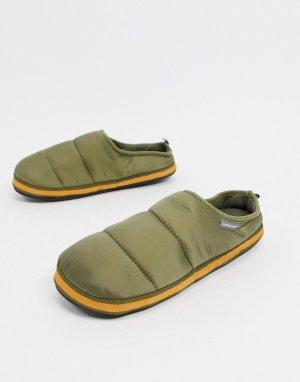 Слиперы из стеганого нейлона цвета хаки -Зеленый Dunlop