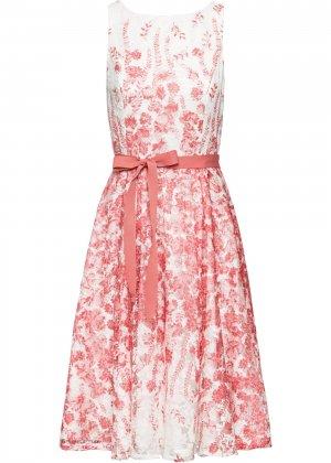 Платье миди с кружевом bonprix. Цвет: белый