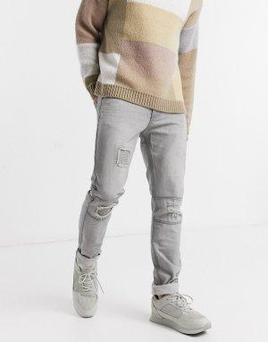 Серые джинсы с прорехами и заплатами -Серый Bellfield