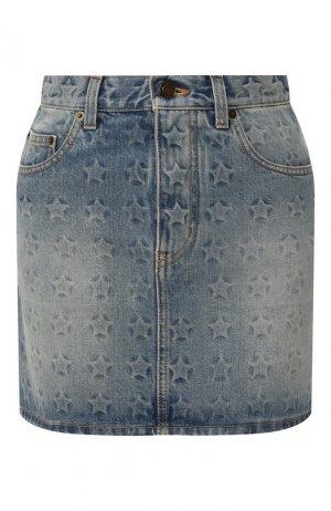 Джинсовая мини-юбка Saint Laurent. Цвет: темно-синий