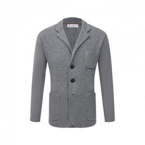 Пиджак из шерсти и кашемира Brunello Cucinelli. Цвет: серый