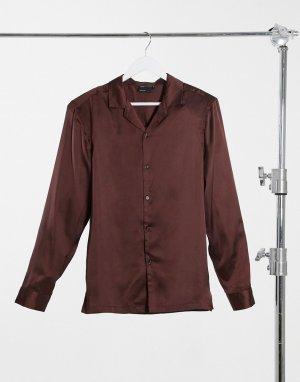 Атласная рубашка классического кроя с подплечниками шоколадно-коричневого цвета -Коричневый ASOS DESIGN