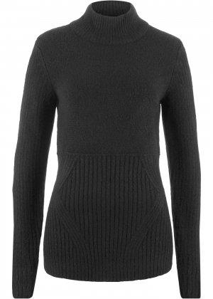 Пуловер с воротником-стойкой bonprix. Цвет: черный