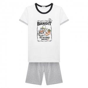 Хлопковая пижама La Perla. Цвет: серый