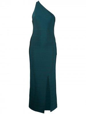 Длинное платье на одно плечо Hervé Léger. Цвет: синий