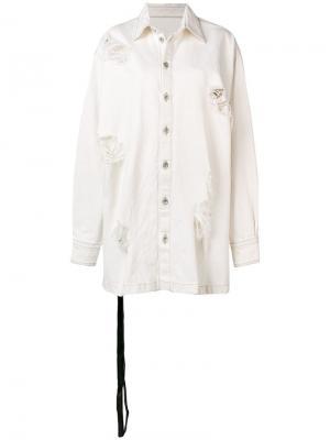 Джинсовая куртка с эффектом потертости Unravel Project. Цвет: белый