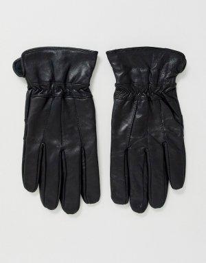 Черные кожаные перчатки -Черный Boardmans