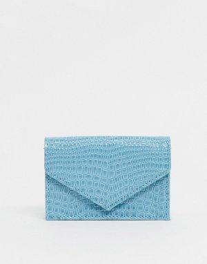 Голубая кредитница с крокодиловым рисунком -Синий ASOS DESIGN