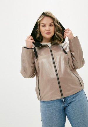 Куртка кожаная Le Monique TT3931ALS9. Цвет: коричневый