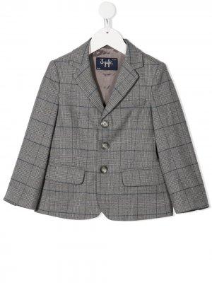 Клетчатый однобортный пиджак Il Gufo. Цвет: серый