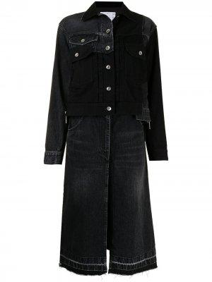 Джинсовая куртка-рубашка в технике пэчворк Sacai. Цвет: черный
