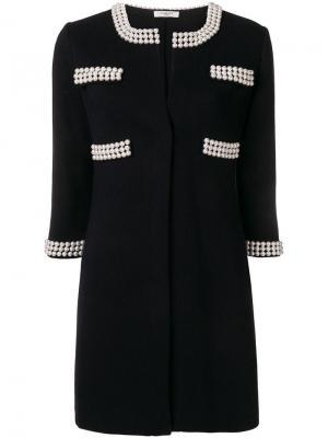 Пальто с декором из жемчужин Charlott. Цвет: синий